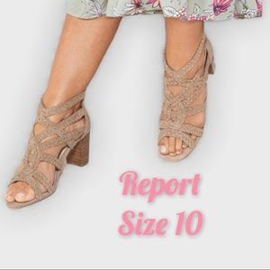 Report | Braid & Cross Chunky Heels Taupe Size 10
